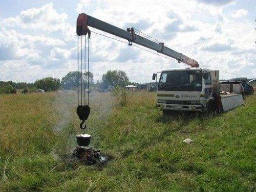 Кран - супердержатель котелка на русскрм поле