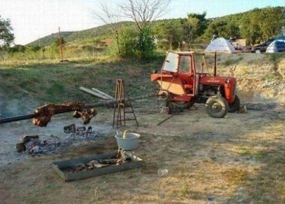 Зачем в России тракторы?! Жарить мясо!