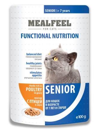 Mealfeel пауч для кошек старше 7 лет, кусочки с домашней птицей в соусе, 100 г