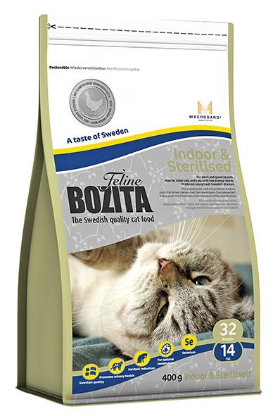 Bozita Indoor & Sterilised сухой корм для домашних и стерелизованных кошек, 400 г