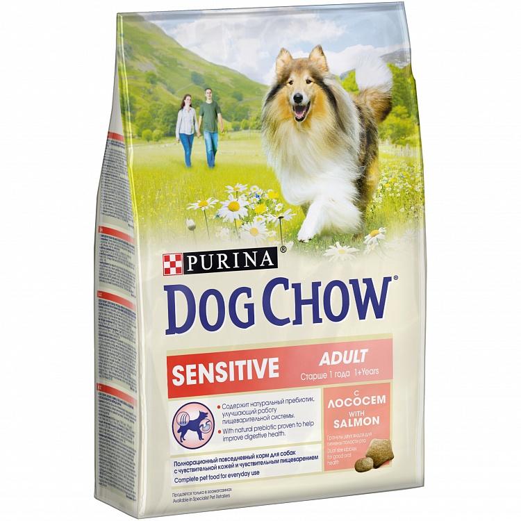 Dog Chow Sensitive сухой корм для собак с чувствительным пищеварением, лосось 2,5 кг