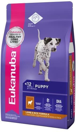 Eukanuba Puppy/Junior сухой корм для щенков всех пород, ягненок/рис 2,5 кг