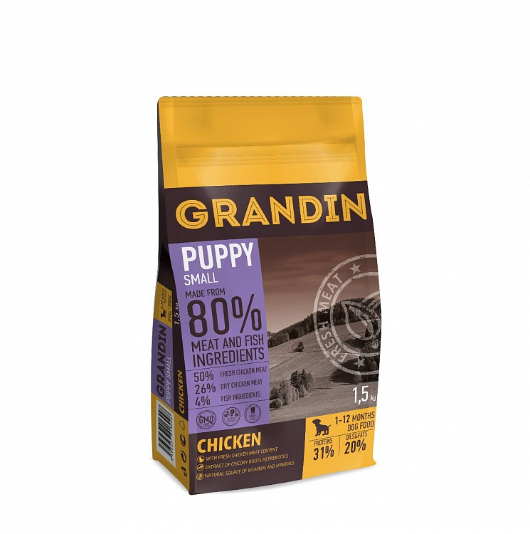 Grandin Fresh Meat сухой корм для щенков мелких пород, курица 1,5 кг
