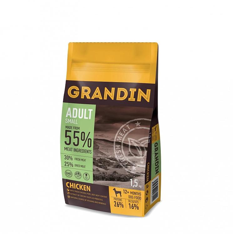 Grandin Fresh Meat сухой корм для собак мелких пород, курица 55% 1,5 кг