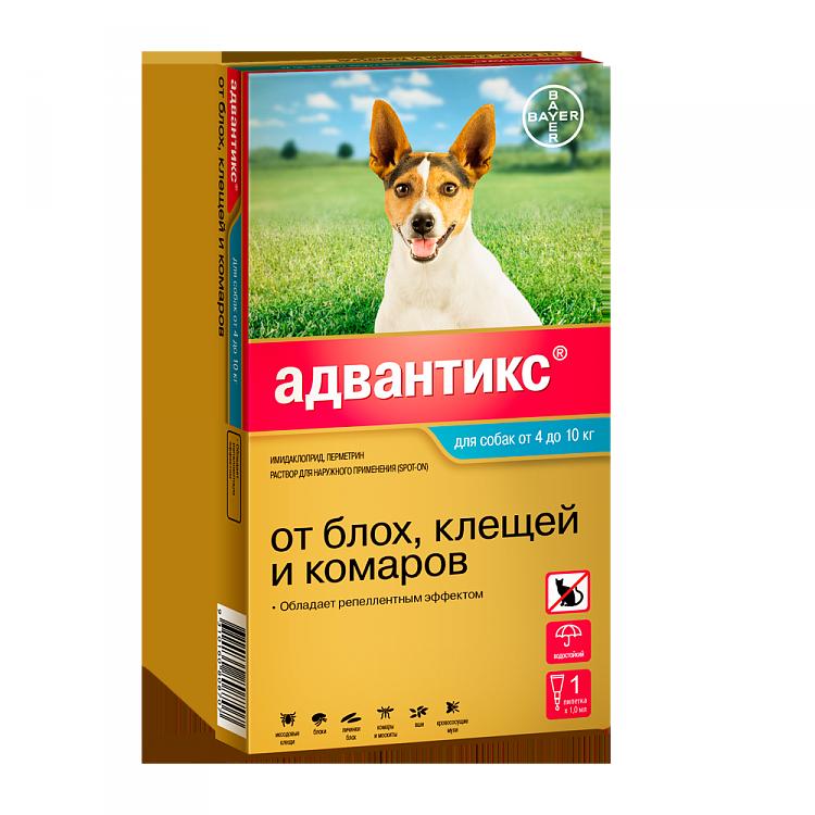 Капли на холку Адвантикс от клещей, блох и комаров для собак от 4 до 10 кг– 1 пипетка